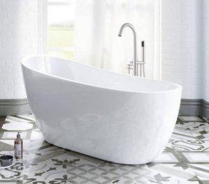 WOODBRIDGE White 54 inch Acrylic Freestanding Bathtub