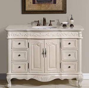 Silkroad Exclusive Countertop Marble Single Sink Bathroom Vanity