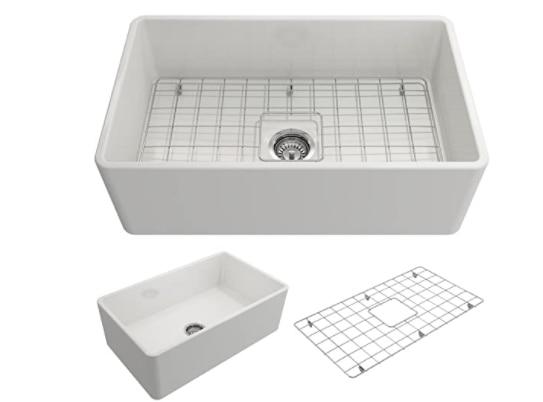 BOCHHI 1138-001-0120 Classico Apron Front Fireclay Single Bowl Kitchen Sink