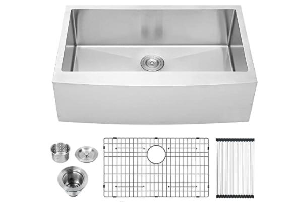 Lordear 33-inch Farmhouse Sink Apron Front Single Bowl Farm Kitchen Sink