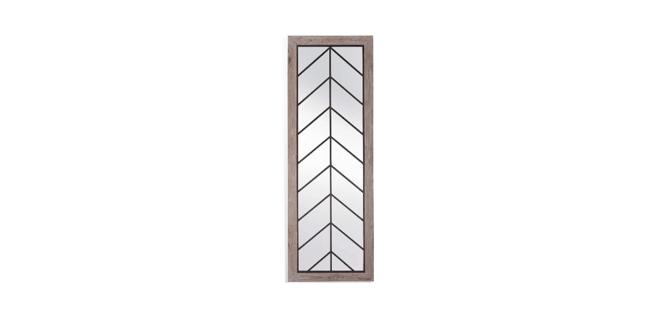 Bassett Arrowhead Leaner Mirror in Natural Wood wBronze Finish M4121 Extra Large Mirror
