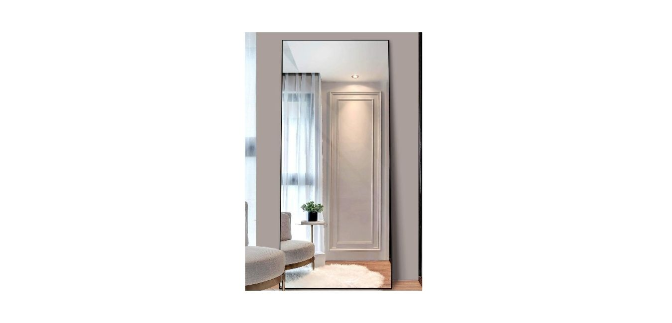 Full-Length Mirror, Standing Hanging or Leaning against Wall Aluminum Extra Large Floor Mirror