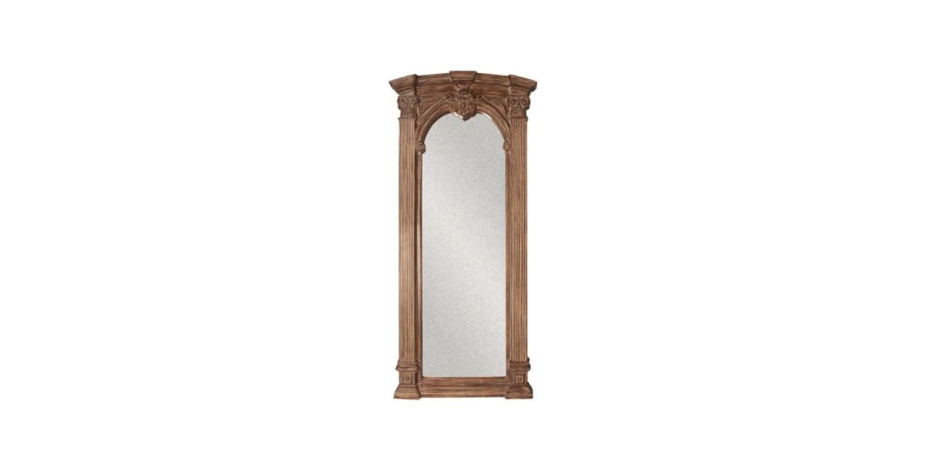 Medium Tuscan Brown with Whitewash Accents Wood Antiqued Bohemian Rustic Extra large floor Mirror