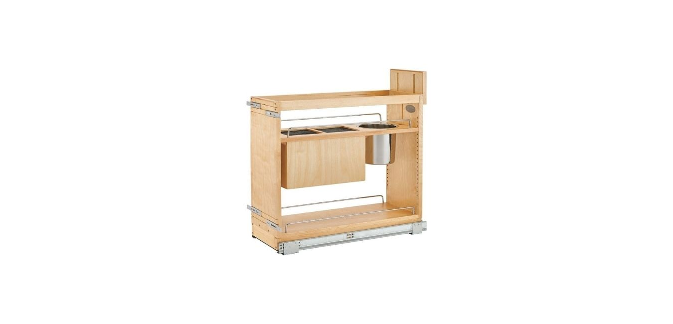 Pull-Out Wood Base Cabinet Organizer with Knife Block and Soft-Close Slides