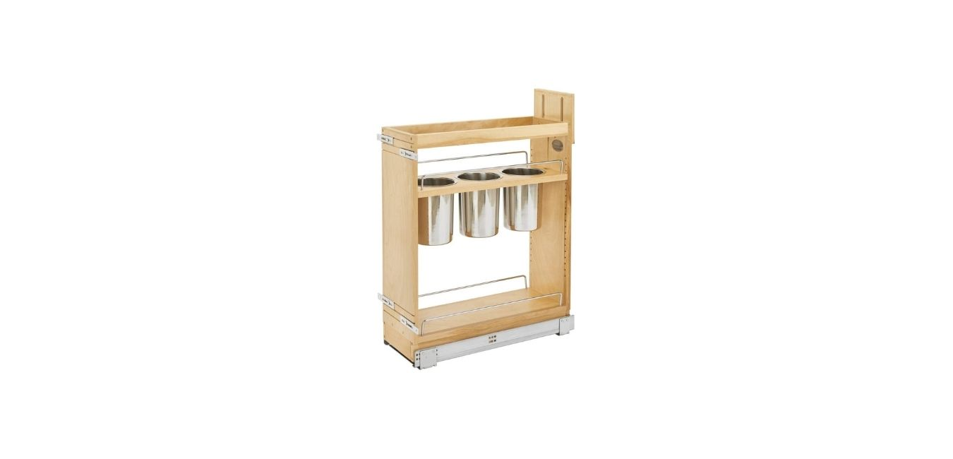 Pull-Out Wood Base Cabinet Utensil Organizer with 3 Bins and Soft-Close Slides