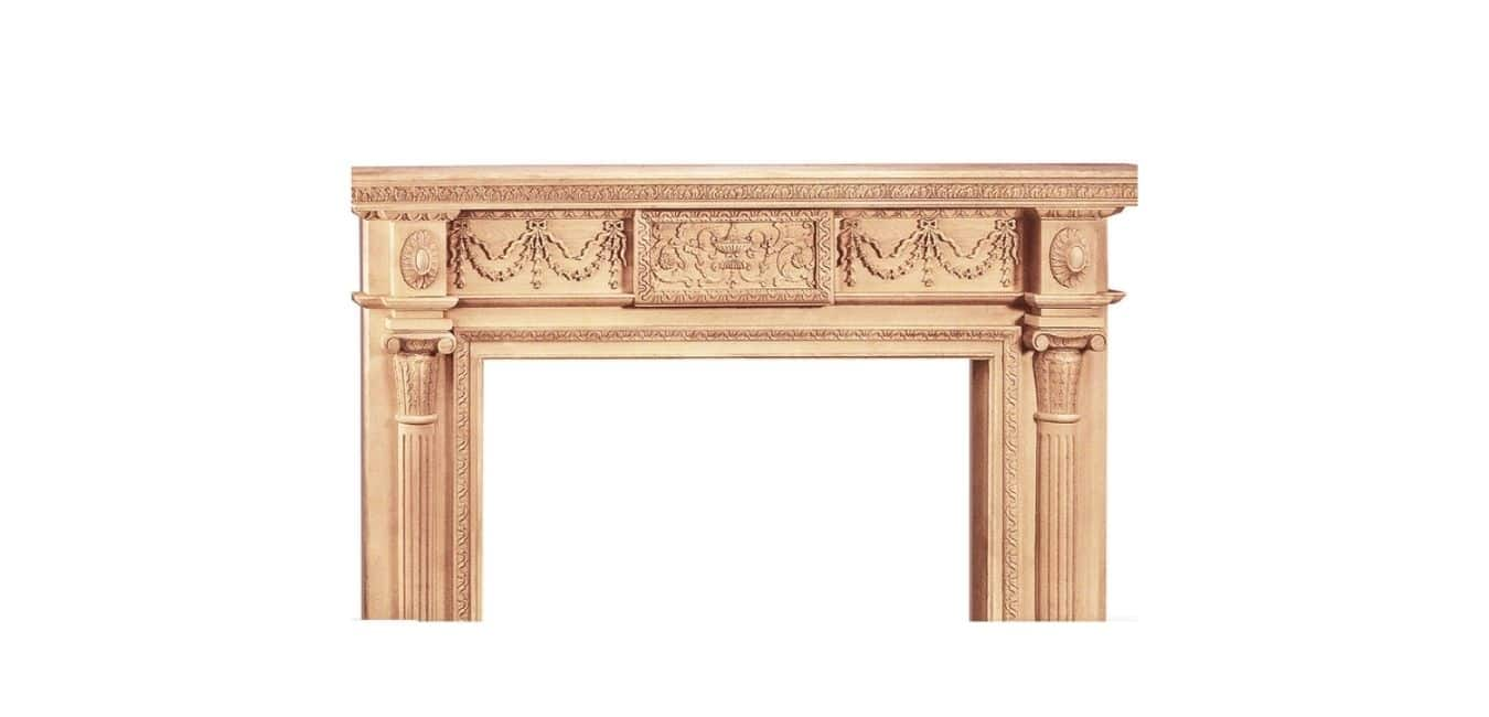 Traditional Carved Wood Fireplace Mantel Surround